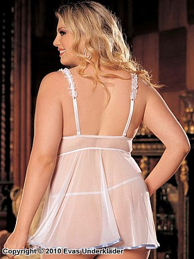 Babydoll i charmeuse med spets, plus size, 4